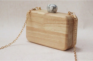 wood clutch with chain