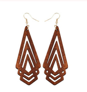 wood dangly earrings