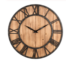 wrought iron and pallet wood clock