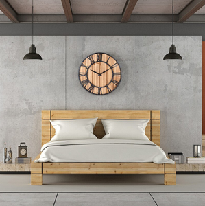 wrought iron wood clock hanging in BR