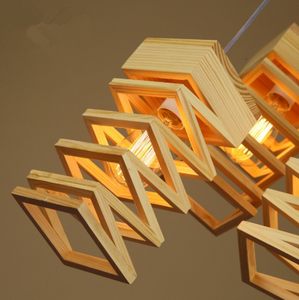 side view of modern wood art drop light