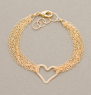 State Thick Cable and Heart Bracelet