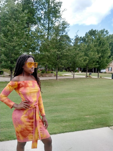 Sunkist long sleeve midi dress