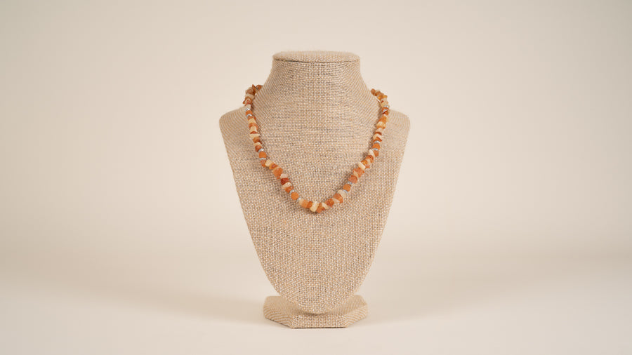Red Aventurine, Carnelian, Yellow Jade Necklace