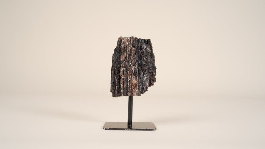 Black Tourmaline on Metal Stand