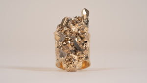 Gold Plated Clear Quartz Crystal Ring