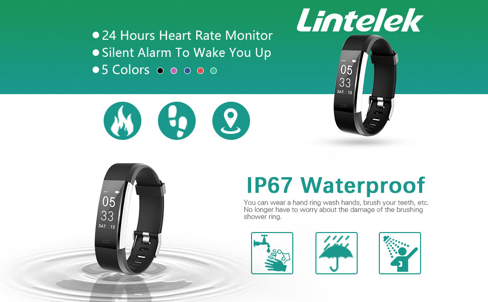 Lintelek Fitness Tracker ID115 HR waterproof HR and alarm