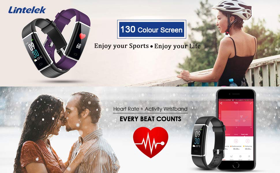 Lintelek Fitness Tracker ID130 HR Color color screen and heart rate counter
