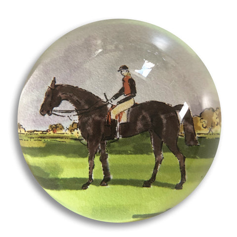 "Horse and Rider - 3"" crystal paperweight"