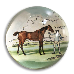 "Chestnut horse - 3"" crystal paperweight"