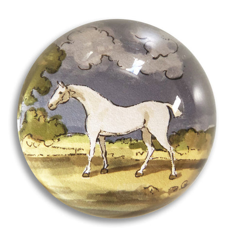 "White Stallion - 3"" crystal paperweight"