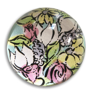 "Flower Burst - 3"" crystal paperweight"
