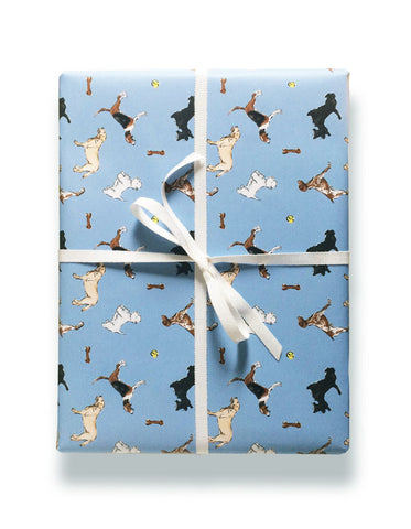 Buddy blue gift wrap by Capri Luna