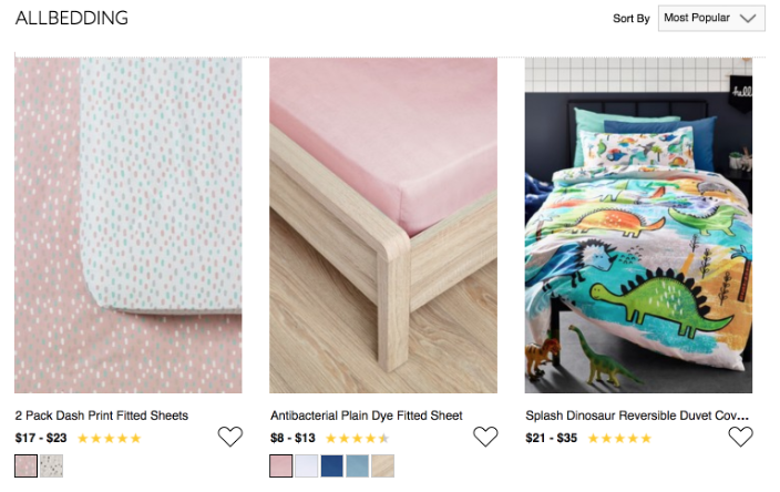 All bedding Collection or Catalog pages