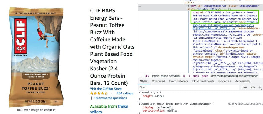 On the left side of the screen is a clif bar and on the right is code that shows the ALT text of the Clif bar.