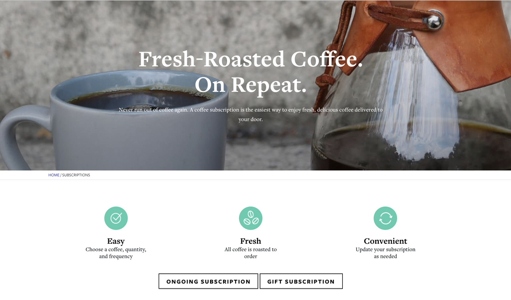 Counter Culture Coffee Subscription Landing Page