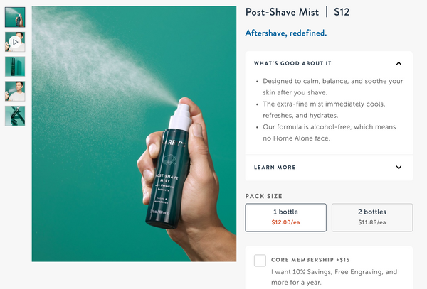 harry's shaving mist product page example