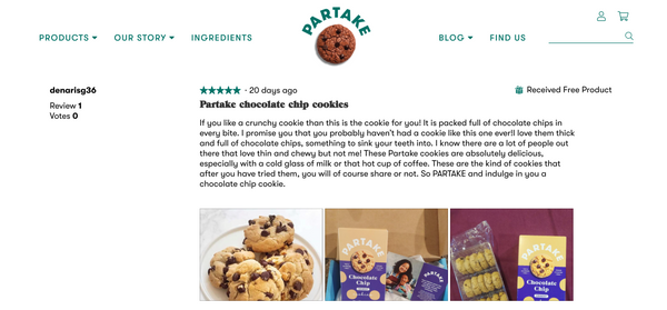 Partake cookies product page example