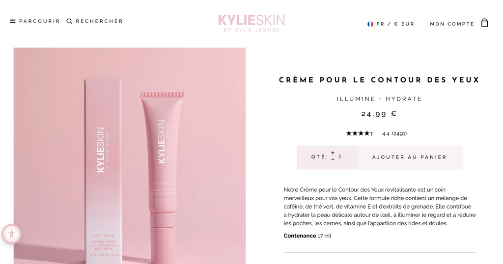 Kylie Skin Cosmetics Skincare French Product Page