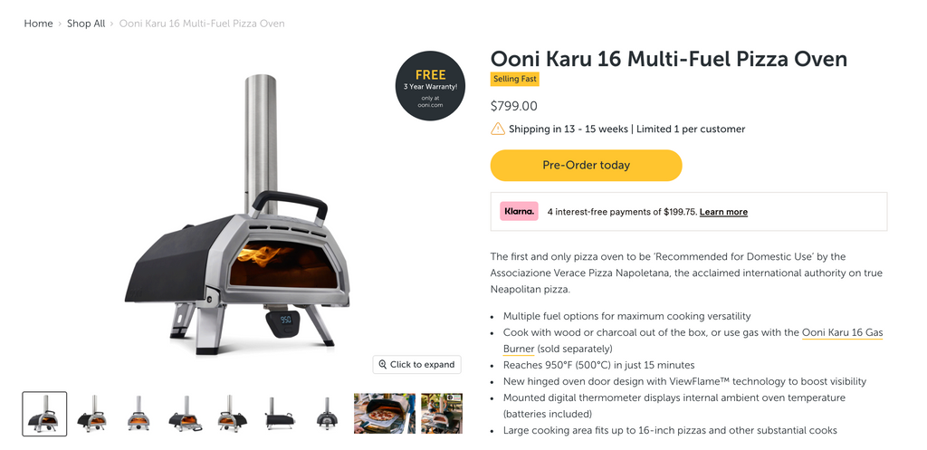 Ooni product page photo example