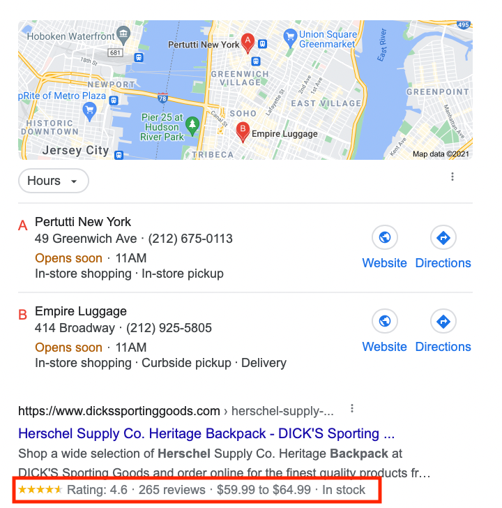 SERP features example informational intent
