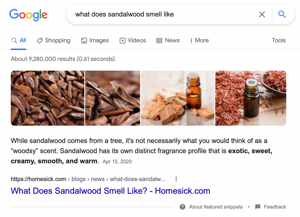 Featured snippet example SERP features