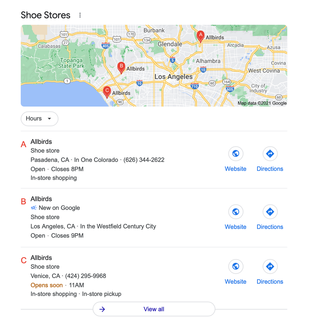 Allbirds local pack SERP feature example