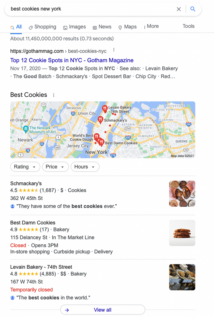 SERP feature example of local pack with location keyword modifier