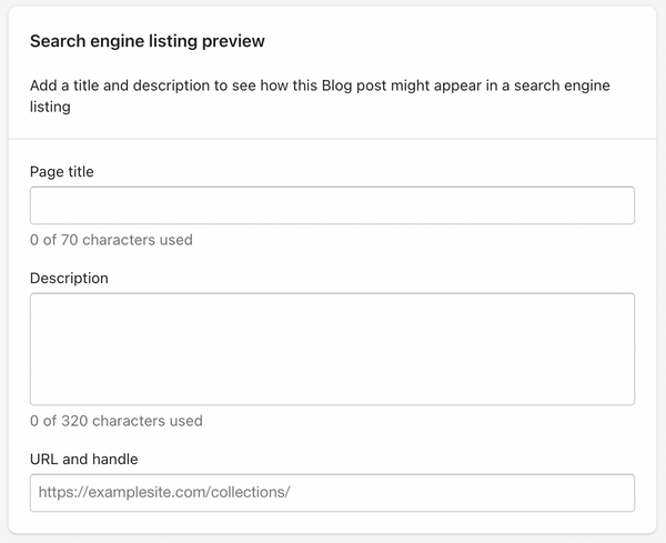 Shopify Admin example for adding title tags and URL