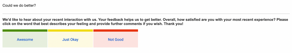 Customer service feedback email example