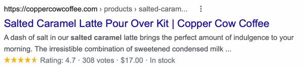 Copper Cow Coffee SERP example