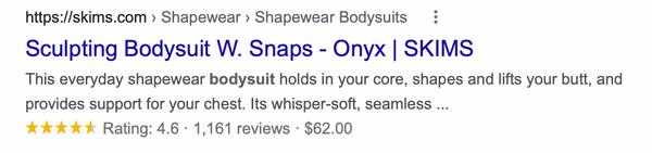 Skims Bodysuit rich snippet example