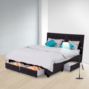 King Maria Fabric Bed Frame Base with Storage Drawer-Charcoal