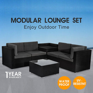 6PCS Outdoor Modular Lounge Sofa + Outdoor PE Wicker Twin Pack Sunbeds