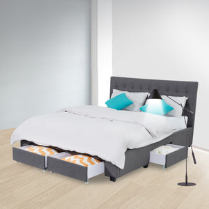 Double Maria Fabric Bed Frame Base with Storage Drawer-Light Grey