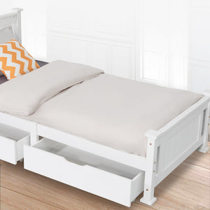 2 x Wooden Bed Frame Storage Trundle Drawers-White