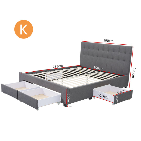 King Maria Fabric Bed Frame Base with Storage Drawer-Light Grey
