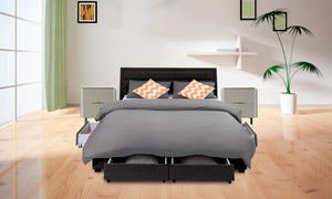 King Greta Fabric Bed Frame Base with Storage Drawer-Charcoal