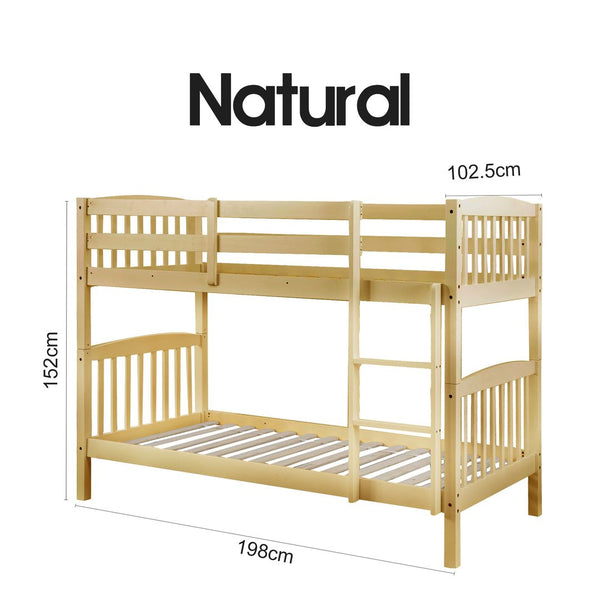 2 In 1 Solid Pine Single Timber Bunk Bed Frame Natural Dreamo Living