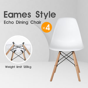 4 x Replica Eames Chairs Dining Office Cafe Lounge-Echo White