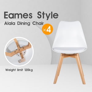 4 x Replica Eames Chairs Dining Office Cafe Lounge-Alala White