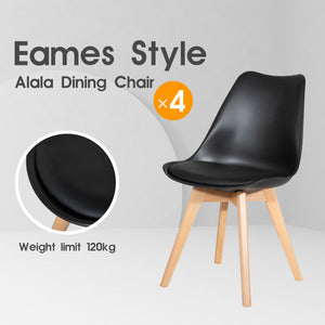 4 x Replica Eames Chairs Dining Office Cafe Lounge-Alala Black