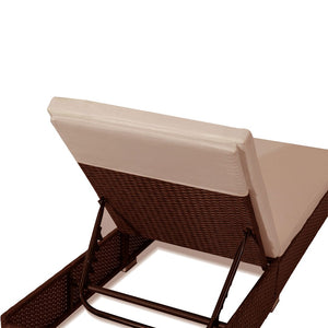 Borocay PE Wicker Outdoor Sunbed Lounge Set of 2,Brown