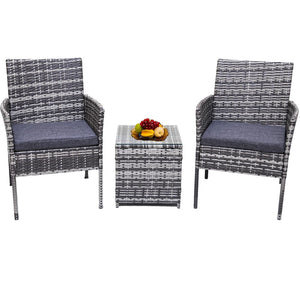 2 Seater PE Rattan Outdoor Furniture Chat Set- Mixed Grey