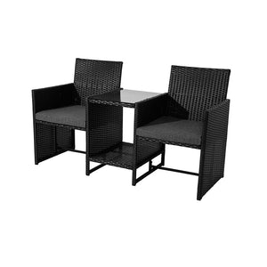 Outdoor Manly Twin Chair 2-Seater Set– Black