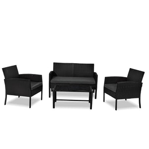Miami 4 Pc PE Wicker Outdoor Set-Black