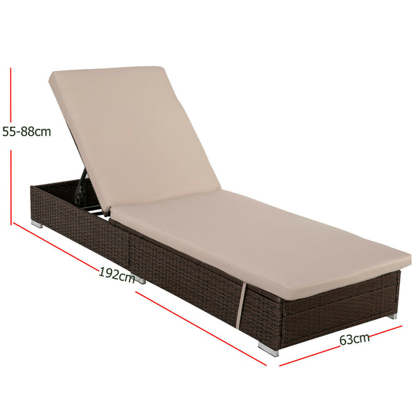 Borocay PE Wicker Outdoor Sunbed-Brown
