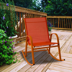 Rocking Chair High Back Rocker Chairs Steel Metal Textilene Fabric-Orange