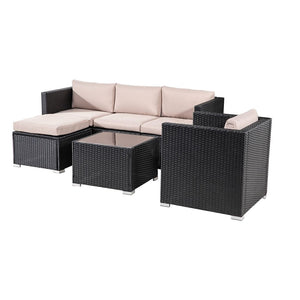 6 PCS Outdoor Modular Lounge Sofa Manly- Black