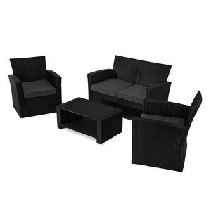 Bala 4 Seater Lounge Sofa Set – Black